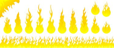 Fire flames vector set. On white background Royalty Free Stock Image