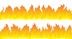 Fire flames vector set. Fire lines. Two seamless fire line. You can merge 2 lines into one or match up duplicates Stock Photo