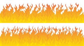 Fire flames vector set. Fire lines. Two seamless fire line. You can merge 2 lines into one or match up duplicates Royalty Free Stock Image