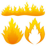 Fire flames. Vector set isolated on white background. Fire flames Stock Images