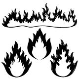 Fire flames. Vector set isolated on white background. Fire flames Stock Image