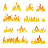 Fire flames vector set isolated on white Stock Photo