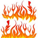 Fire flames vector set. On white background Stock Images