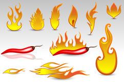 Fire Flames Vectors and Design Icons. Abstract retro fire flames and chili spice  elements Royalty Free Stock Photography