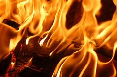 Fire flames VIII. A flaming and warm wood fire royalty free stock photos