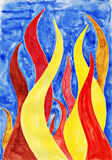 Fire flames. Watercolor painting on paper Stock Photo