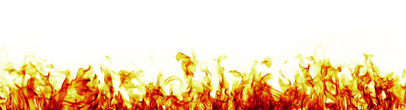 Fire flames on white background  more red version Stock Photo