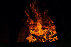 Fire and flames - wood burning Stock Photos