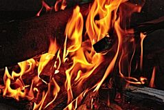 Fire, Flames, Wood, Burning, Yellow Stock Images