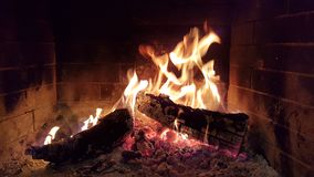 Fire flames woods in fireplace winter Stock Image