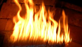 Fire flaming. Fire flam in baker hoven Royalty Free Stock Images