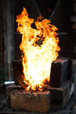 Fire. Flaming fire in the handmade forge Royalty Free Stock Photography