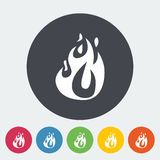 Fire flat icon. Fire elements. Single flat icon on the circle. Vector illustration Royalty Free Stock Image