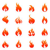 Fire Flat Icon Set. Fire silhouette red and orange color flat icon set isolated vector illustration Royalty Free Stock Photography