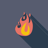 Fire flat icon. Fire icon. Flat vector related icon with long shadow for web and mobile applications. It can be used as - logo, pictogram, icon, infographic Royalty Free Stock Photo