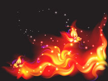Fire flower. Fiery flower and butterflies from fire Royalty Free Stock Image