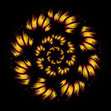 Fire flower on black background. Spiral fire pattern on black background Stock Image