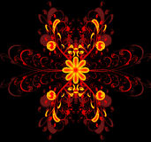 Fire flower ornament. Fire red and yellow borders flower ornament Stock Image