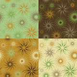 Fire Flower Pattern in Green-Brown. Abstract floral seamless pattern in four colorways. Tiles repeat 6 inches Stock Image