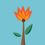 Fire flower Vector. Fire flower on blue background. Vector Royalty Free Stock Image