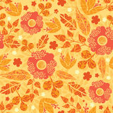 Fire flowers seamless pattern background. Vector vibrant fire flowers golden seamless pattern background with hand drawn line art floral elements royalty free illustration