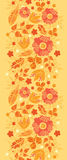 Fire flowers vertical seamless pattern background. Vector vibrant fire flowers golden vertical seamless pattern background ornament with hand drawn line art vector illustration