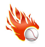 Fire and fly baseball ball symbol white color Royalty Free Stock Image