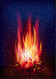 Fire and flying sparks. Vector illustration, 10 eps Royalty Free Stock Photos