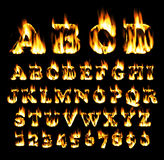 Fire font, alphabet of flame. Stock Photo