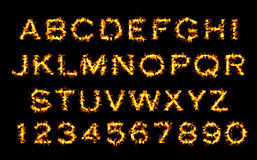 Fire font, alphabet of flame. Stock Images