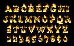 Fire font, alphabet of flame. Stock Image