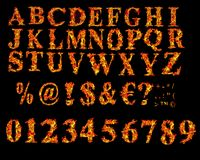 Fire font collection. Isolated on black background Royalty Free Stock Photo