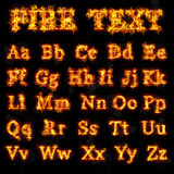 Fire font collection. Of all letters of alphabet Royalty Free Stock Images