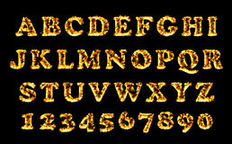Fire font collection, alphabet of flame. Fire burning letters set. Stock Images