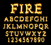 Fire font collection, alphabet of flame. Stock Photos