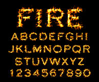 Fire font collection, alphabet of flame. Fire font collection, Fire text collection. Alphabet of flame Stock Photos