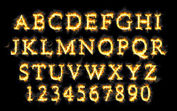 Fire font collection, alphabet of flame. Fire font collection, Fire text collection. Alphabet of flame Royalty Free Stock Photography