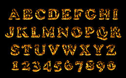 Fire font collection, alphabet of flame. Royalty Free Stock Image