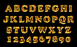 Fire font collection, alphabet of flame. Fire font collection, Fire text collection. Alphabet of flame Stock Photo