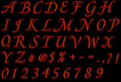 Fire font collection - fiery alphabet set Stock Photo
