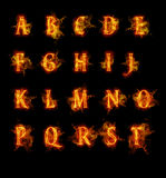 Fire font collection Royalty Free Stock Photography