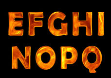 Fire font collection isolated on black background Stock Images