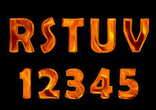 Fire font collection isolated on black background Royalty Free Stock Photo