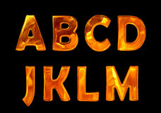 Fire font collection isolated on black background Stock Photo