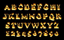 Fire font collection, alphabet of flame. Royalty Free Stock Photography