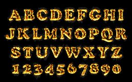 Fire font collection, alphabet of flame. Royalty Free Stock Photo
