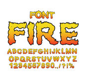Fire font. Flame ABC. Fiery letters. Burning alphabet. Hot typog. Raphy. blaze lettring Stock Photos
