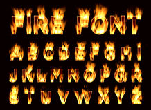 Fire font. Plum letters. Font on fire. Royalty Free Stock Photos