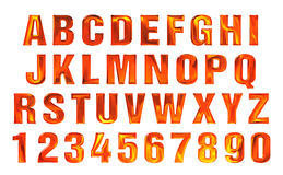 Fire font set. flame Alphabet. Set Royalty Free Stock Photos