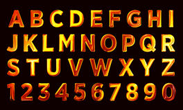 Fire font set. flame Alphabet. Fire text. burning contour font Royalty Free Stock Photography